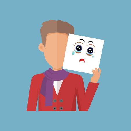 Young sexy boy with a sheet of paper expressing emotion of sadness. Person covers his real feelings under artificial mask. Part of series of people in different emotional states. Vector illustration.