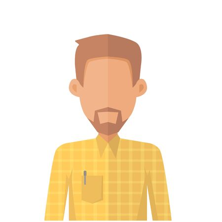 business work: Young man private avatar icon. Young man in yellow shirt with beard. Social networks business private users avatar pictogram. Isolated vector illustration on white background. Illustration
