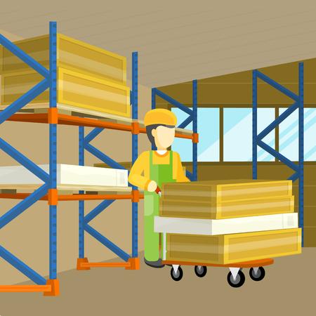 processus de livraison de l'équipement d'entrepôt. Intérieur, Logisti et usine, chargeur homme dans la construction de l'extérieur, la livraison de l'entreprise, le fret de stockage. Déchargement unshipping débarquement des marchandises. Vecteur Vecteurs