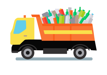 Garbage truck transportinggarbage, plastic and glass. Tipper with yellow cabin and orange vehicle. Garbage tipper with trash. Waste recycling concept. Cargo truck. Vector illustration in flat style