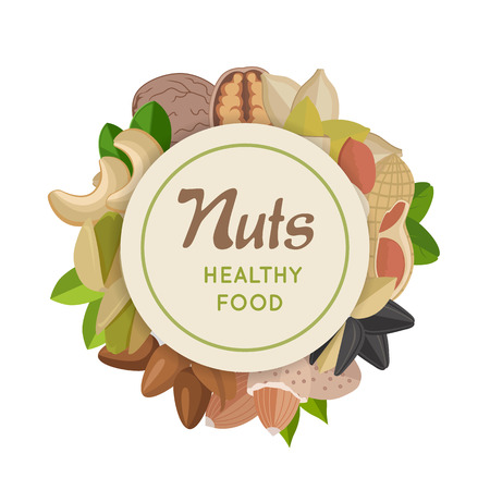 Nuts healthy food concept logo vector. Walnut, cashew, pistachio, peanut, almond, sunflower, pumpkin, flax illustrations for wallpapers, polygraphy textile web page design surface textures