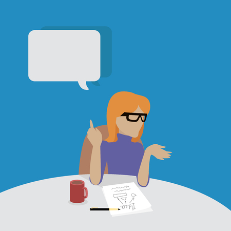 young businesswoman: Young businesswoman thinking and writing. Woman in purple dress sitting at the table with empty dialog window. Woman pensive. Isolated object in flat design on white background. Vector illustration