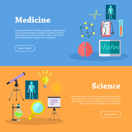 Medicine And Science Web Banners. Laboratory Template Of Flyear ...