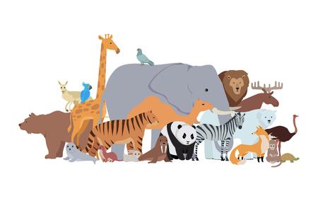 animaux zoo: Les animaux de différentes épices bannière. Elk zebra hamster cerf tigre panda d'autruche castor kangourou loup souris ours colombe, singe, panda, girafe, le renard, le lapin, le lion, le morse, tortue. poster Zoo. Vecteur Illustration