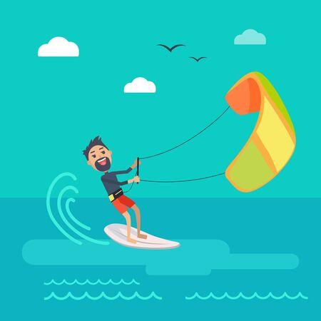kiteboarding: Kitesurfing vector concept. Joyful man holding kite and sliding on sea surface on surf flat vector. Leisure on summer vacation. Resting on tropical seacoast. For kiteboarding club, travel company ad