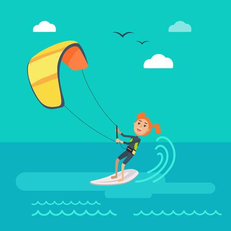 seacoast: Kitesurfing vector concept. Joyful woman holding kite and sliding on sea surface on surf flat vector. Leisure on summer vacation. Resting on tropical seacoast. For kiteboarding club, travel company