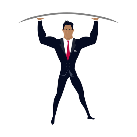 Businessman posing as telamon. Professional support concept design flat style. Business professional support, work success, consultant man hand help, businessman organization management and occupation Illustration