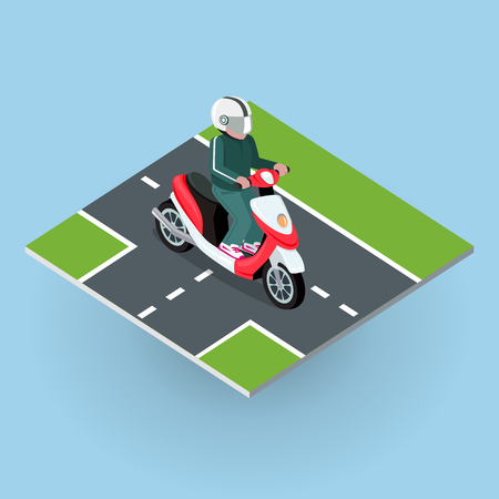 motorized: Touring moped. Motor bike on the road. Top view on motorized bicycle. Flat 3d isometric high quality city moped design. Motorcycle or autobike dirtbike . Part of series of city isometric. Vector