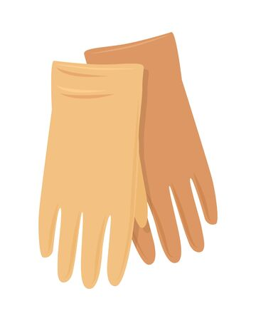 Leather gloves vector. Flat design. Pair of orange woman s gloves. Casual clothing for autumn or winter seasons. Outerwear for cold weather. For clothes store ad, fashion concept. On white