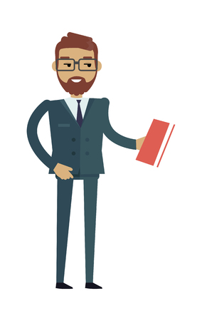 European man in expensive suit and book. Caucasian handsome boy. Attractive gentleman in luxury business clothes. Part of series of people of the world. Vector design illustration in flat style