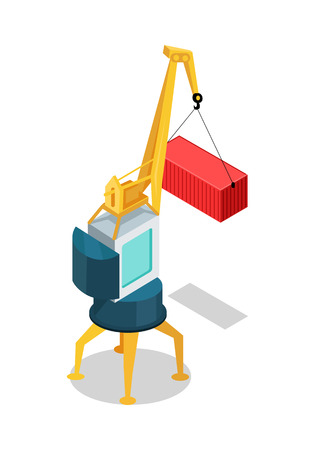 lift up: Crane with cargo container isolated. Machine, equipped with hoist rope, wire ropes or chains, and sheaves, used to lift and lower heavy things and transporting them to other places. Vector