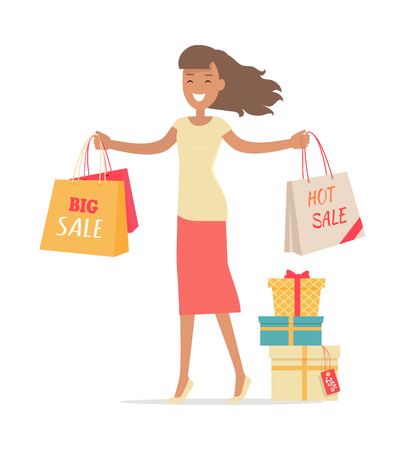 Woman shopping. Lady carries paper bags with text hot sale, big sale. Flat design. Smiling woman character with gift boxes. Pleasure of purchase. For sales and discounts. Vector illustration Illustration