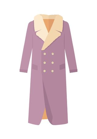 woman fur: Warm coat with wool on neck. Elegant violet woman s fur coat flat vector isolated on white background. Luxury clothing for winter seasons. Outerwear for cold weather. For store ad, fashion concept.