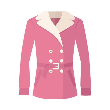 ダブル ブレストの女性の毛皮ジャケット白で隔離。秋と冬の服の居心地のよい。おしゃれなアウター。冬のジャケット アイコン フラット スタイル