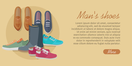 casual dress: Men s shoes. Stylish footwear for man. Boots athletic shoes, casual footwear. Loafers. Dress boots. Work boots. Chukkas. Duck boots. Gym sneakers. Slippers. Boatshoes Autumn winter collection Vector