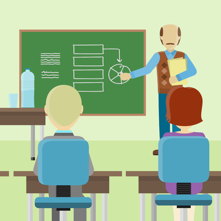 couching: Bald lecturerin in brown sweater and blue pants with documents making a presentation near green blackboard with information. Presentation before an audience, business seminar concept.