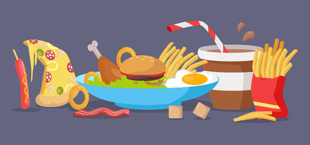 Set of fast food products for restaurants menu illustrating, diet concepts. Pizza, hot dog, chicken thigh,  hamburger, french frie, bacon, egg, onion ring, salad, coffee, sugar vectors in flat design Illustration