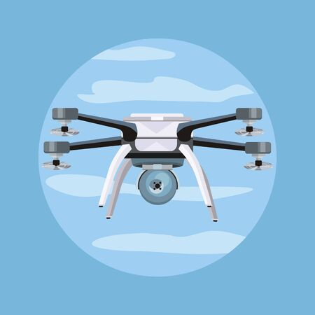 Flying drones vector illustration. Flat design. Drone with four propellers and mounted camera. Modern technology. Unmanned aerial vehicle. For store ad, spy concepts, app icons