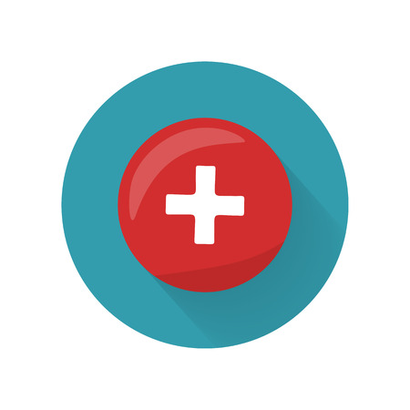 emblem red: Red cross icon on the button. First medical aid ambulance sign symbol. Hospital emblem. Red cross aid. Flag of Switzerland on round circle. Health care concept. Pharmaceutical crest. Vector Illustration
