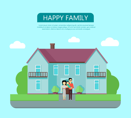 happy family at home: Happy family in the yard of their house. Home icon symbol sign. Colorful residential cottage in blue colors. Part of series of modern buildings in flat design style. Real estate concept. Vector Illustration