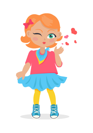 Young girl sent air kiss isolated on white. Little cartoon lady sent kisses. I love you, first date, Valentines Day. School girl give a wink. Romantic toddler. Vector illustration in flat style Ilustração