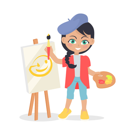 leisure time: Girl drawing on easel isolated on white. Adorable little girl has leisure time. Young painter at drawing lesson. Toddler at playground draws a picture in flat style design. Daily activity. Vector