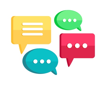 Jeu de discussion web bulles isolé sur blanc. dialogue Interface, bouton de conversation, l'application phylactère. App icône de style design plat. Message, lettre de communication, sms et email sign. Vector illustration Vecteurs
