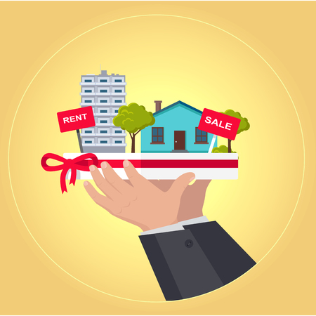 housing estate: Real estate concept vector. Flat design. Hands holding salver with houses, trees, rent and sale signs on it. Illustration for real estate company advertising, housing concepts. On yellow background.