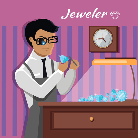 Jeweler during the evaluation of jewels. Young jeweler in glasses examines faceted diamond in workplace in the lamplight flat style. Occupation person to work with precious stones. Vector illustration