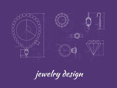 쥬얼리 디자인 배너입니다. 반지, 귀걸이 및 목걸이 그래픽 구성표. 다이아몬드 모양. 청사진 개요 보석입니다. 공예 보석 만들기. 수제 보석상 공정,  일러스트