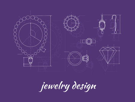 Jewelry design banner. Ring, earring and necklace graphic scheme. Diamond shape. Blueprint outline jewelry. Craft jewelry making. A handmade jeweler process, manufacture of jewelery Иллюстрация