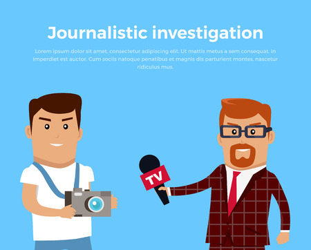 journalistic: Journalistic investigation concept banner. Flat design. Financial crime, tax evasion, money, laundering, corruption illustration. Set of media workers characters investigator photographer reporter