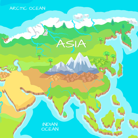 Asia isometric map with natural attractions. Cartography nature concept. Geographical map with local relief. Asia largest, most populous continent, located in eastern and northern hemispheres. Vector Illustration