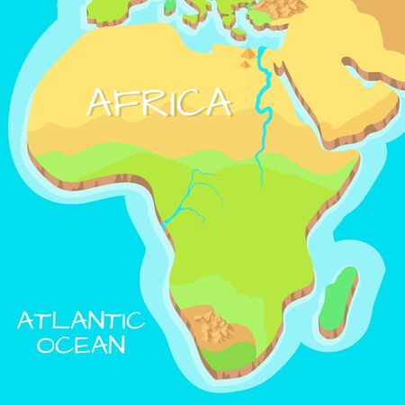 atlantic: Africa isometric map with natural attractions. Cartography nature concept. Geographical map with local relief. Africa continent between Indian and Atlantic ocean. Vector illustration Illustration