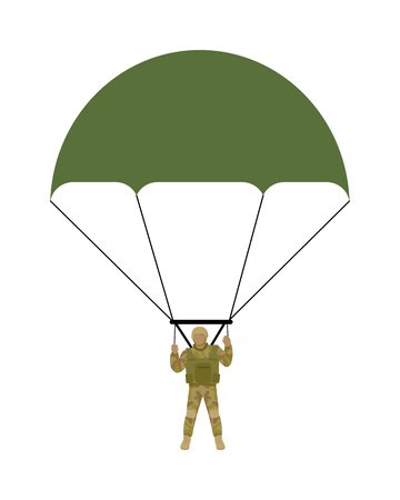 parachutist: Military parachutists vector. Paratrooper descending by parachute flat illustration isolated on white background. Airborne forces soldier. For military concepts, infographics, icons design