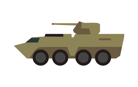 armored: Armored personnel carrier with small-caliber cannon on turret in camouflage color vector illustration isolated on white background. Army machine. For military concepts, infographics, icons, web design Illustration