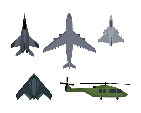 Military aircraft set. Fighter jet, bomber, interceptor, reconnaissance, spy helicopter vector illustrations set isolated on white background. Army flying machine. For military aviation concepts Illustration