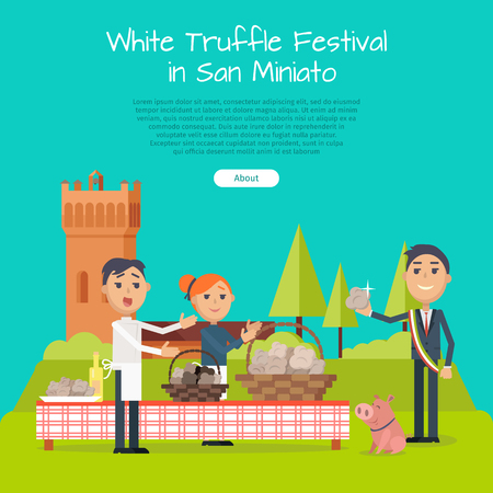 mayor: Festival of Truffle Festival in San Miniato Banner Illustration