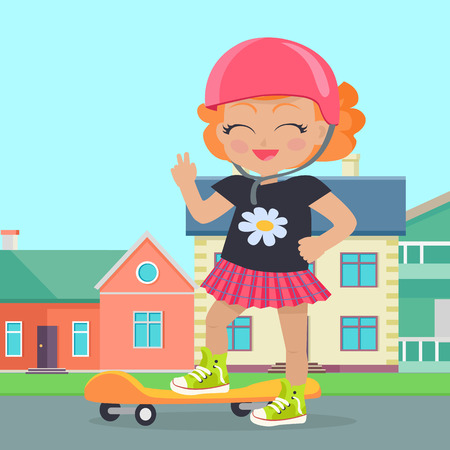 skateboard park: Young Girl in Helmet Sateboard in Park. Vector