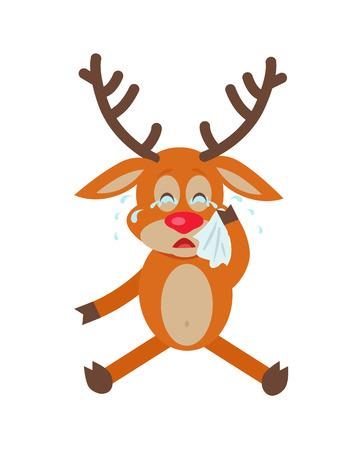 Deer Wipes Tears Cartoon Flat Vector Illustration