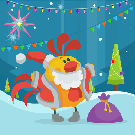Rooster Bird in Santa s Cloth with Bag of Presents Illustration