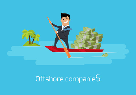 law of panama: Offshore Companies Concept Flat Design Vector