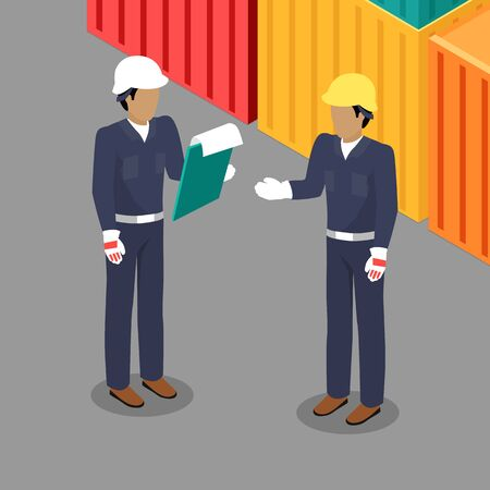 foreman: Cargo Worker and Foreman Talking in Warehouse. Illustration