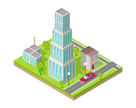 Isometric City Vector Web Banner
