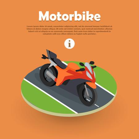 Motorbike on Part of Road. Motorcycle, Bike, Cycle Illustration