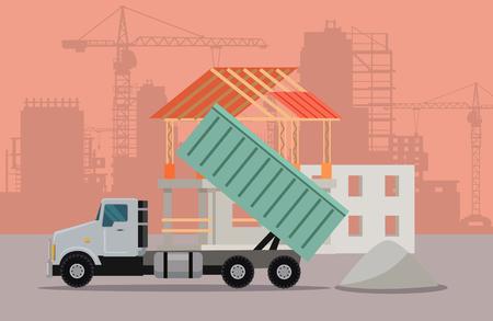 Trucking Vector Banner. Cargo Concept Truck Tipper