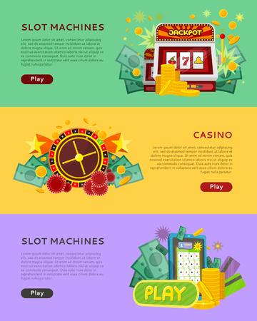tragamonedas: Máquinas tragaperras del casino de Banderas. Concepto en línea Juego