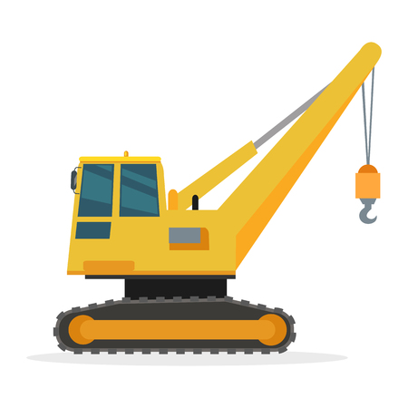 Building Crane on White. Caterpillar. Vector