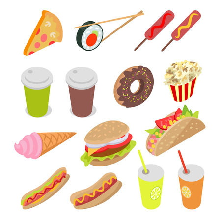 Unhealthy Food and Drinks Set. Vector Illustration Illustration