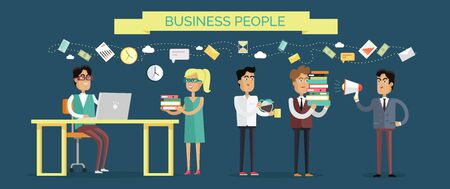happy employees: Business People Concept Vector in Flat Design Stock Photo